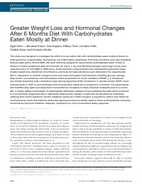 """Greater weight loss and hormonal changes after 6 months diet with carbohydrates eaten mostly at dinner"""