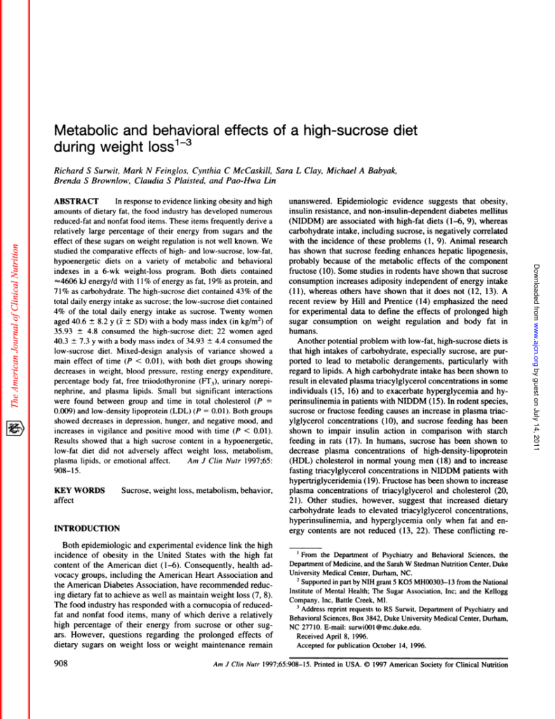 """Metabolic and behavioral effects of a high-sucrose diet during weight loss"""